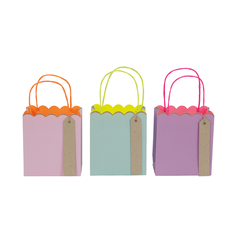 Set of 3 Pastel and Neon Small Gift Bags