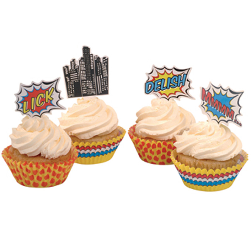 Superhero Cupcake Toppers & Cases