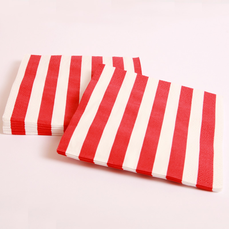16 red and white striped napkins