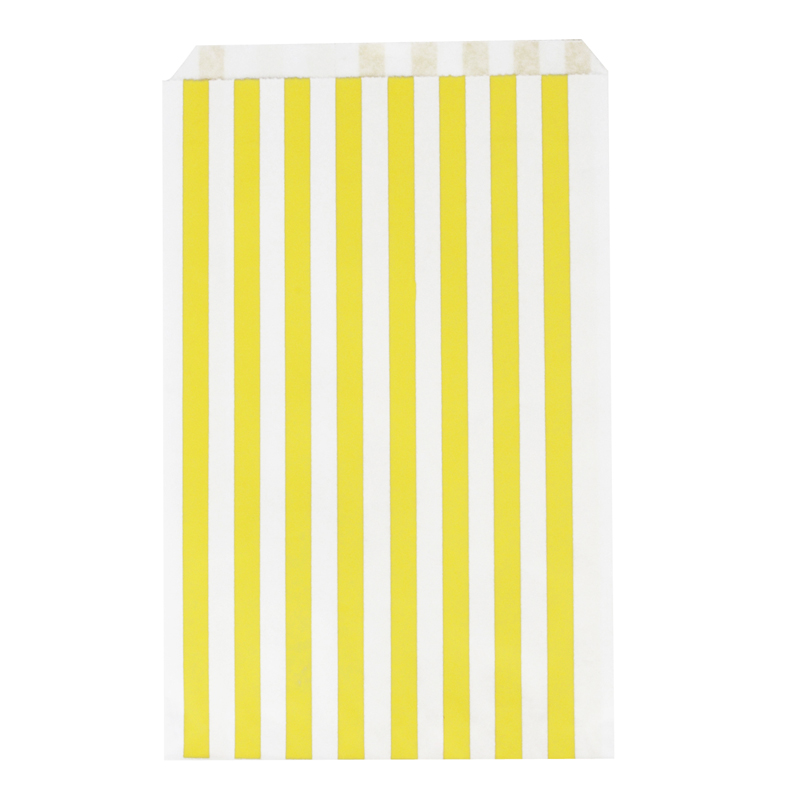 10 yellow striped paper bags