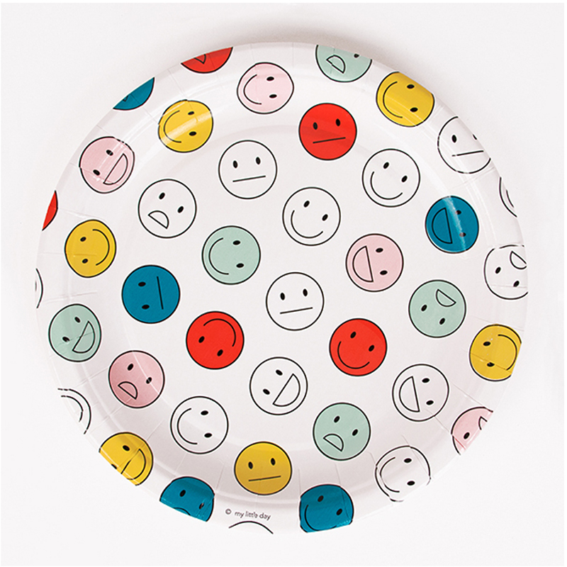 8 Happy Faces-patterned paper plates  sc 1 st  Little Lulubel & 8 Happy Faces-patterned paper plates - Little Lulubel