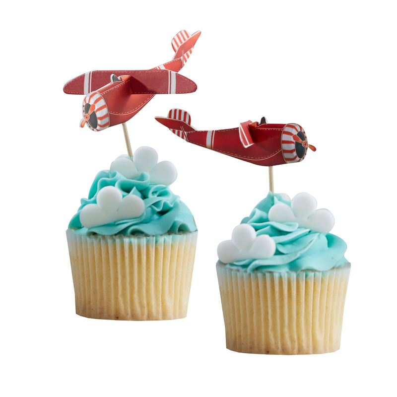 Vintage Plane 3D Cupcake toppers