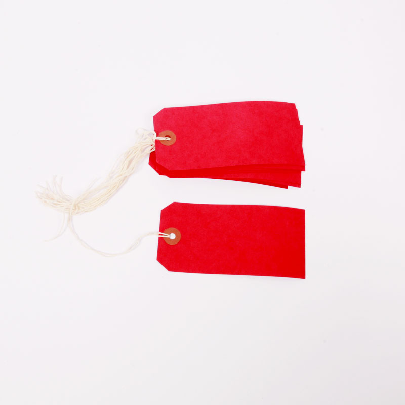 10 red luggage tags