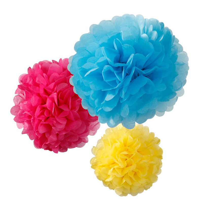 3 multi-coloured pom poms