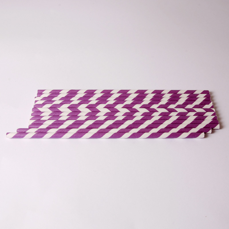 24 purple stripe paper straws