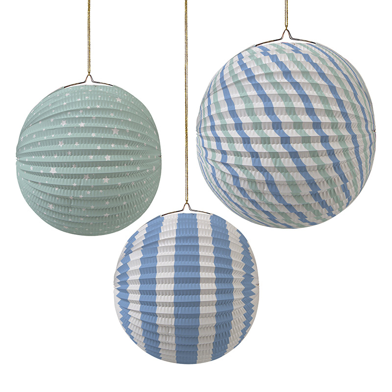 Set of 3 Pastel Blue Paper Globes