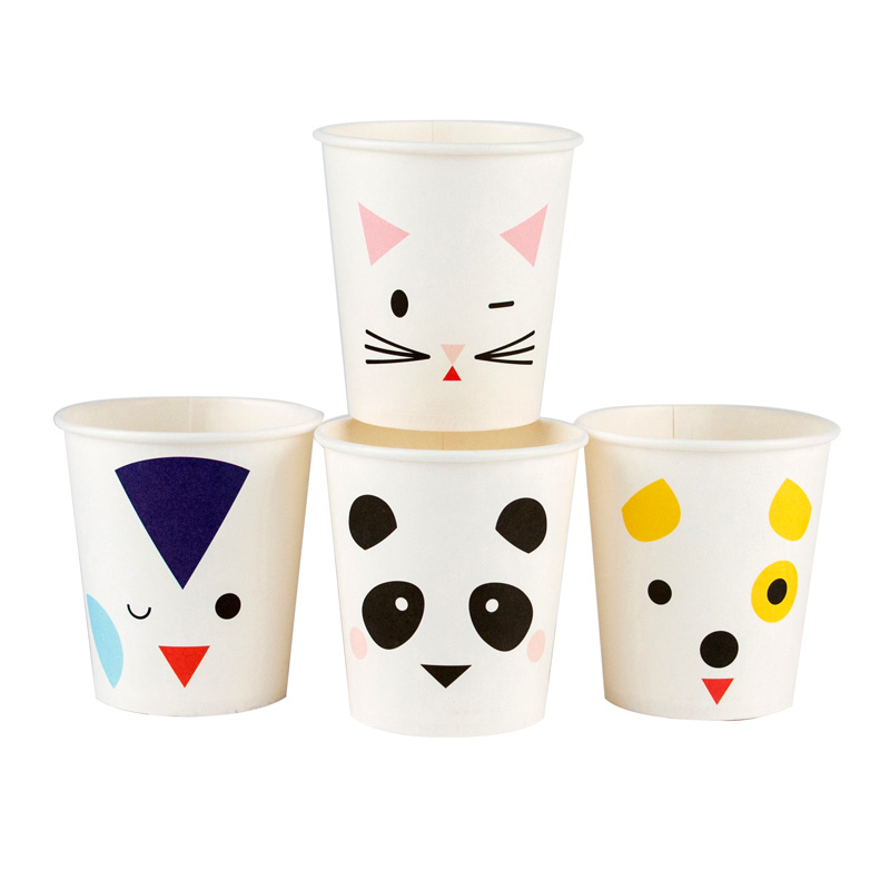 8 animal faces small paper cups