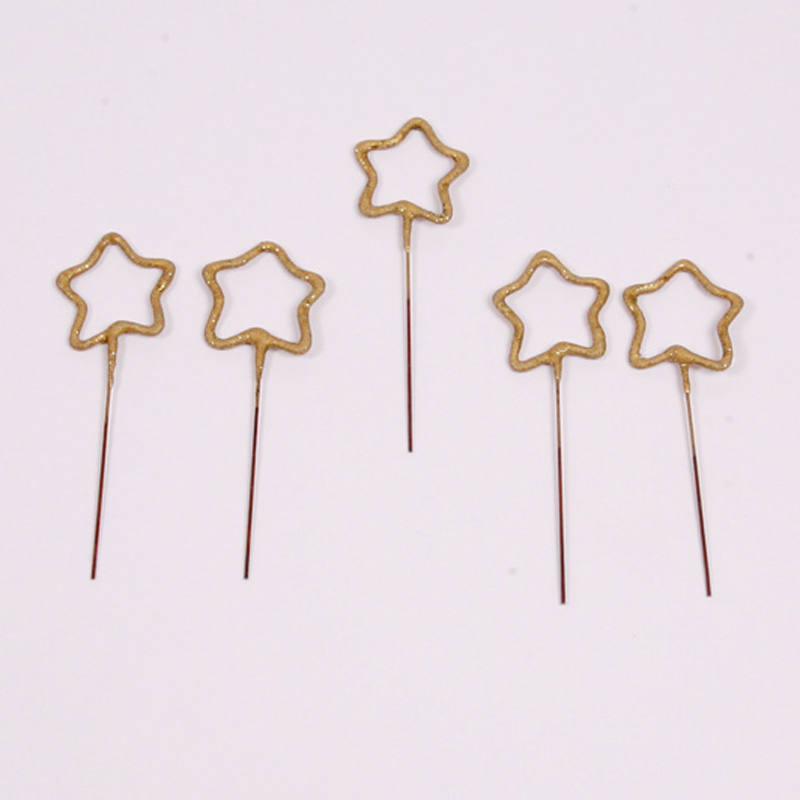 set of 5 gold star sparklers