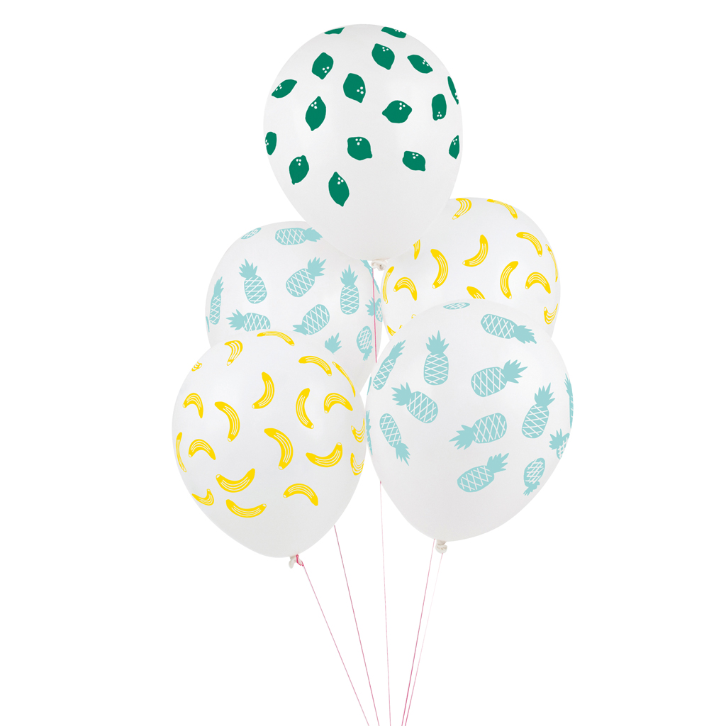 5 fruit printed balloons