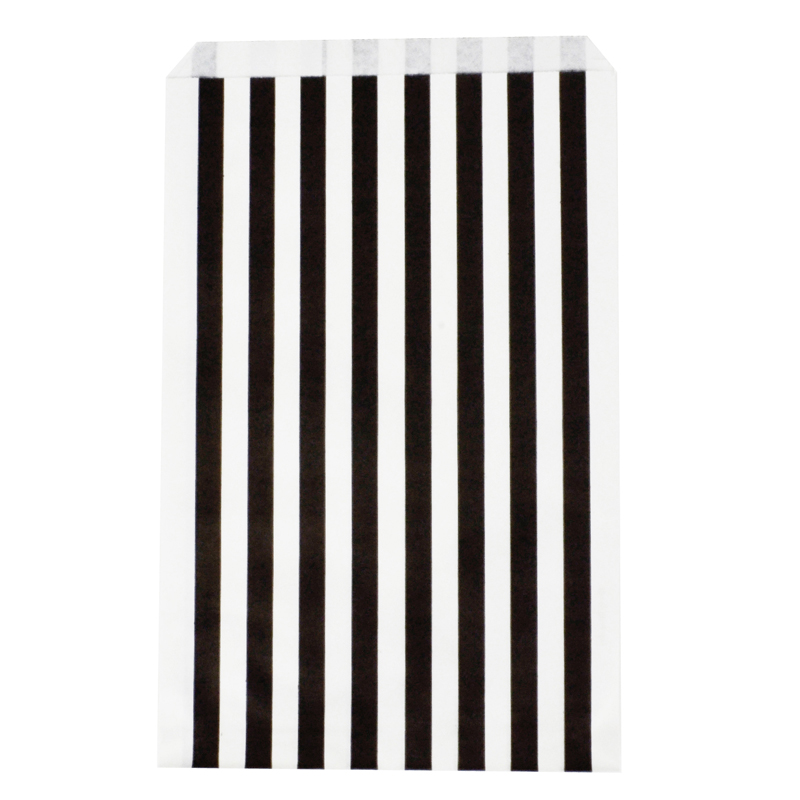 10 black paper striped party bags
