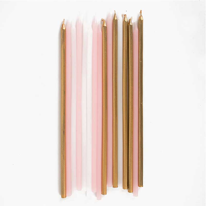 16 Pink and gold candles