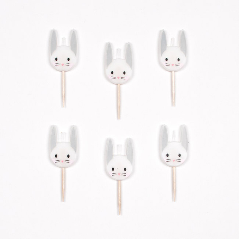 6 mini bunny candles