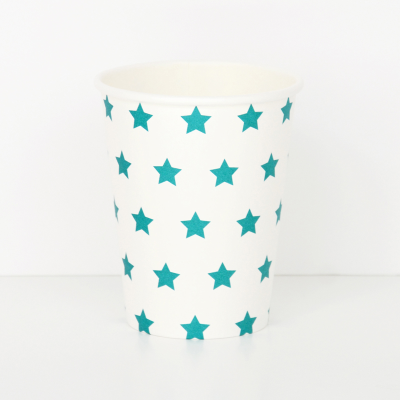 8 turquoise blue star cups