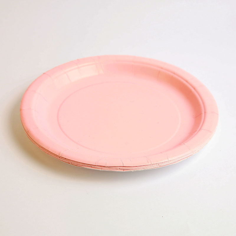 8 pale pink plates