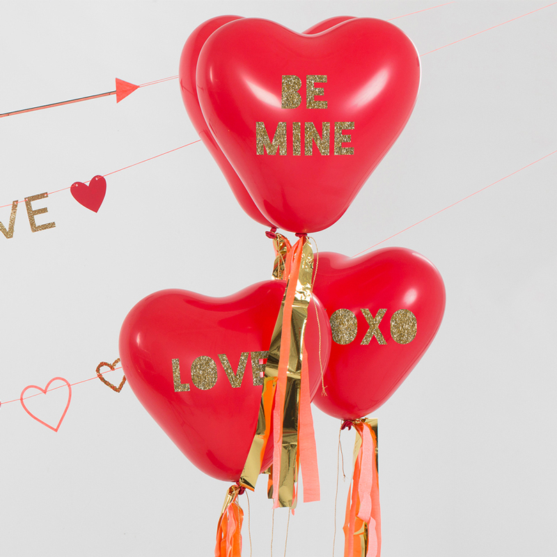 Heart Glitter Balloon Kit