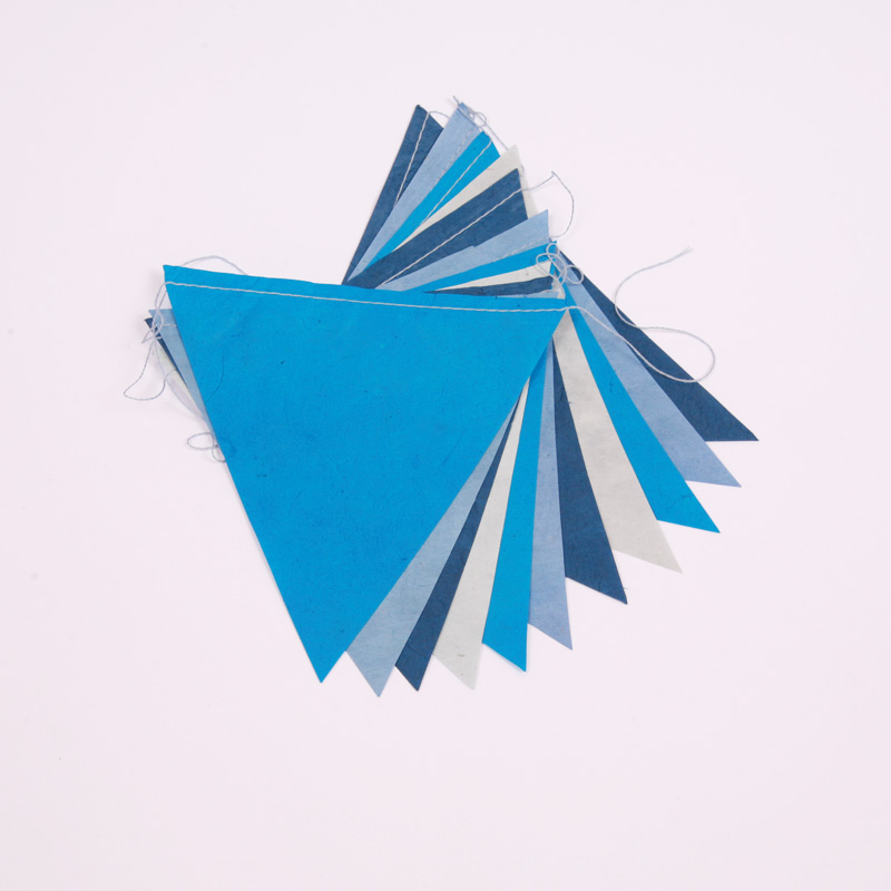 Handmade blue paper bunting