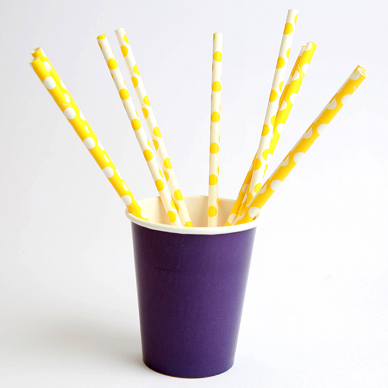 20 yellow and white dotted paper straws