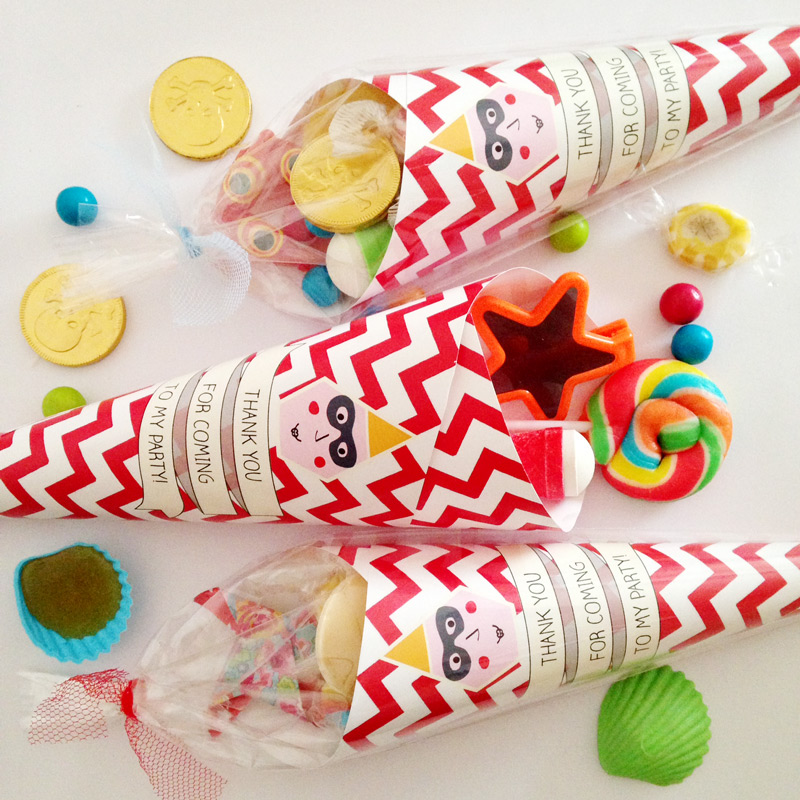 Pre-filled Party Cones with thank you message