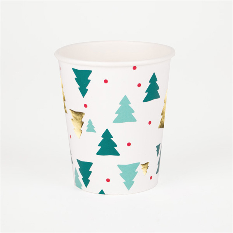 8 Christmas trees paper cups