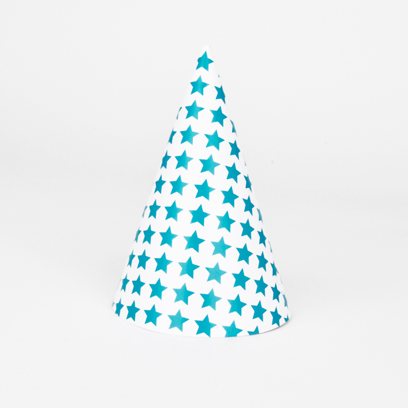 8 turquoise stars party hats