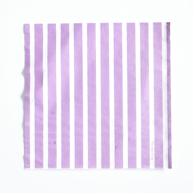 20 lilac striped napkins