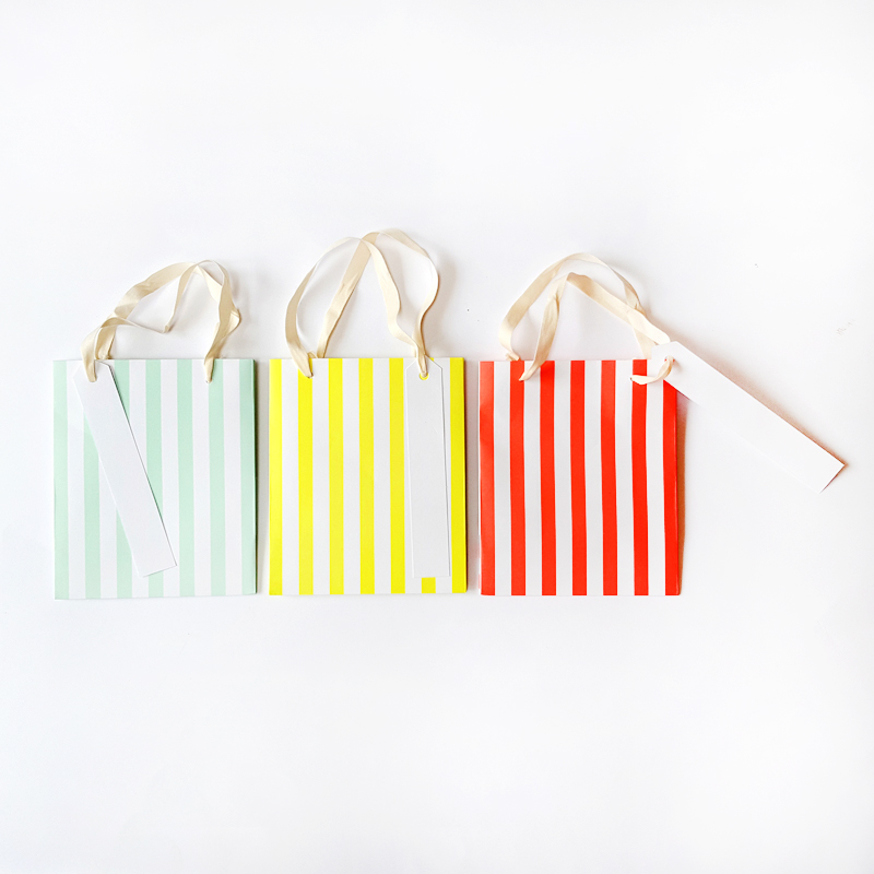 Set of 3 Neon Stripe Small Gift Bags