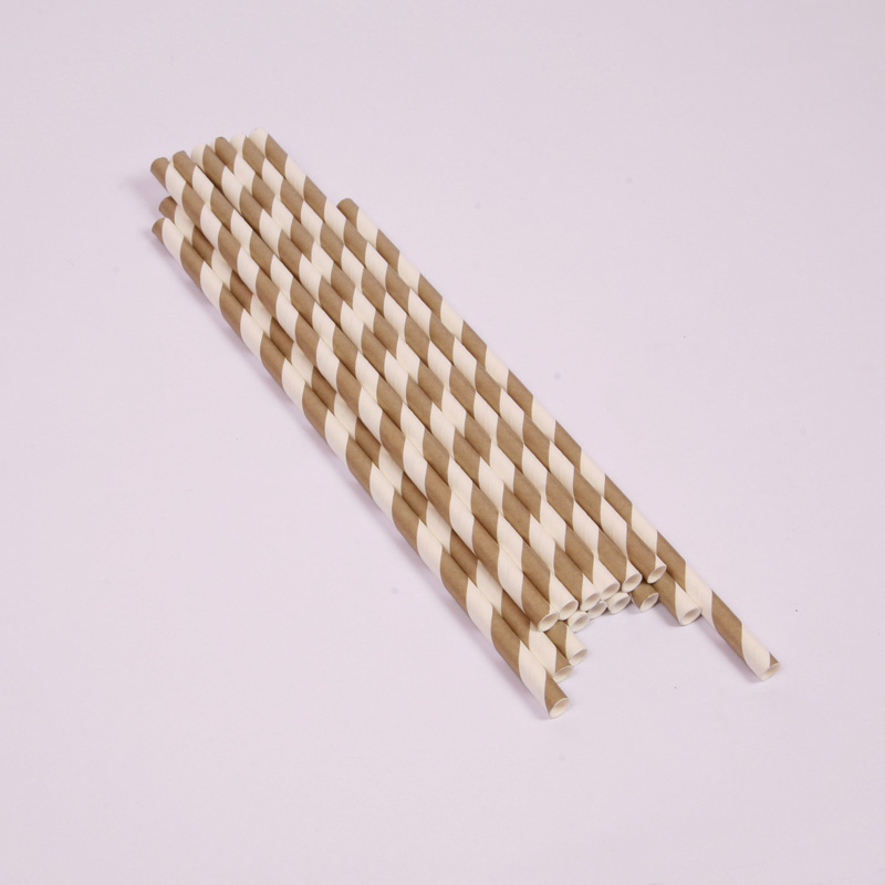 25 gold stripe paper straws