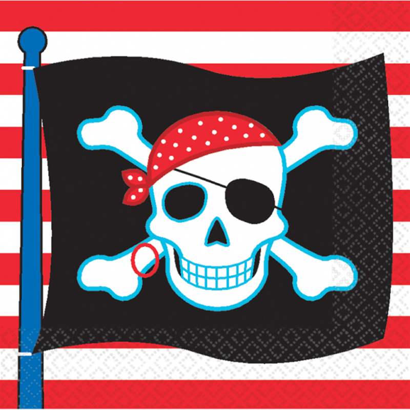 20 pirate flag striped napkins