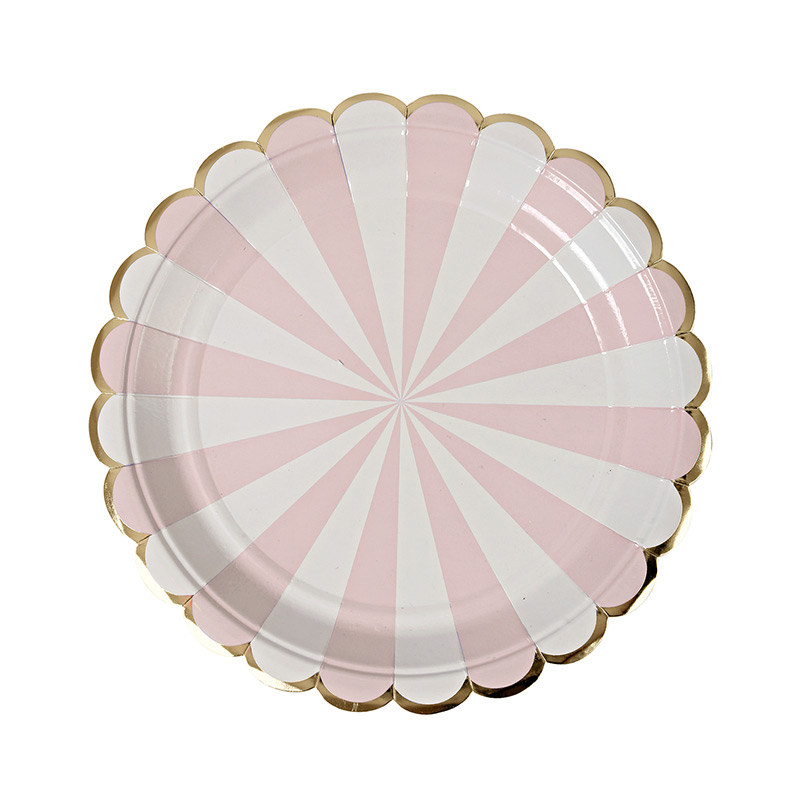 8 Dusty Pink Striped Small Plate