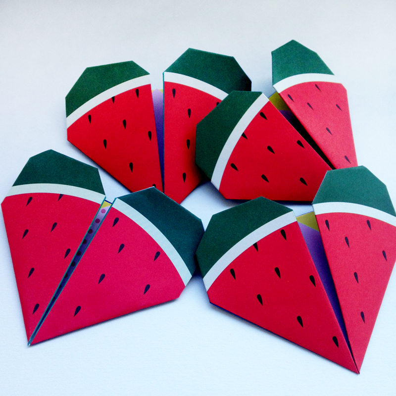 watermelon origami notes