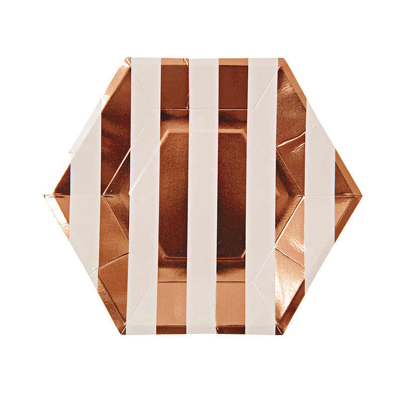 Rose Gold Large Striped Plate