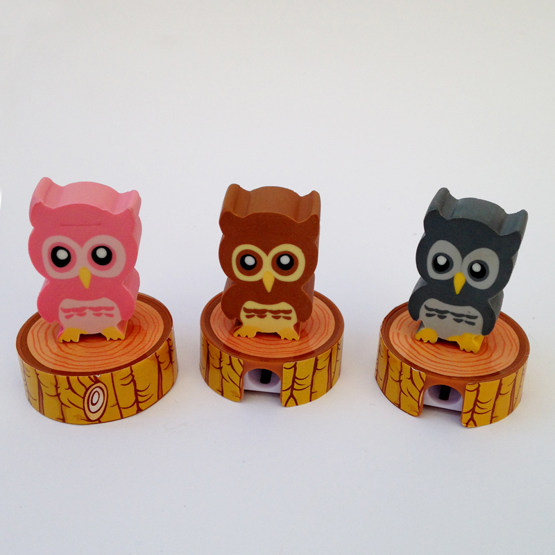 Owl eraser and sharpener