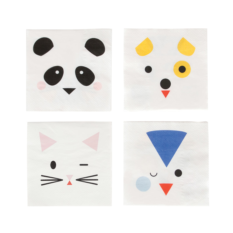 animal faces small napkins