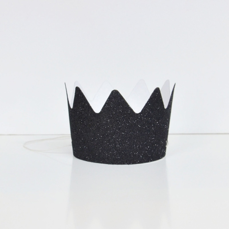 8 black glitter crowns
