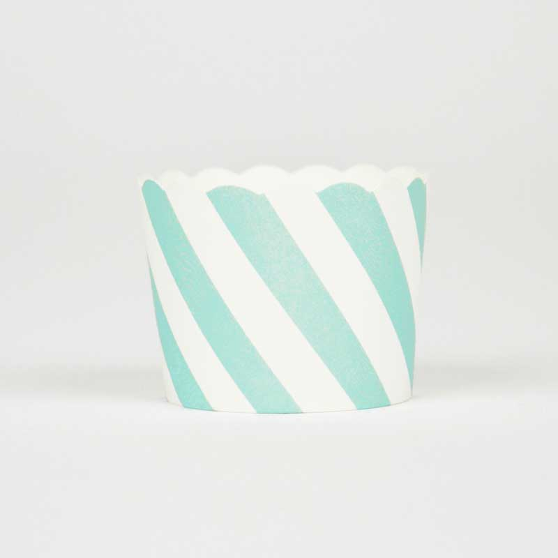 25 mint green striped cupcake liners