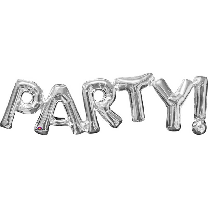 Party word silver foil balloons