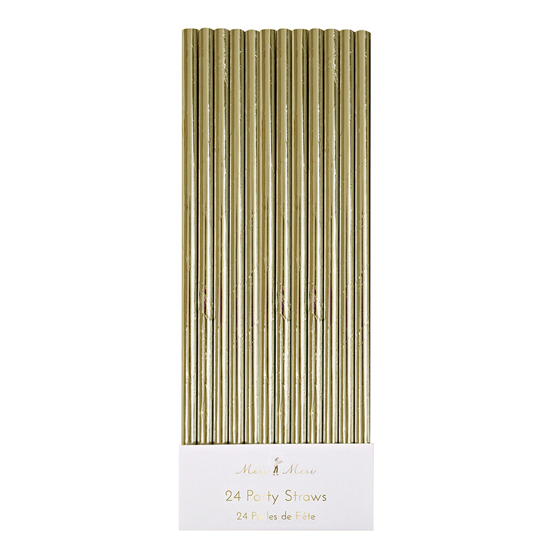 24 Gold Foil Party Straws