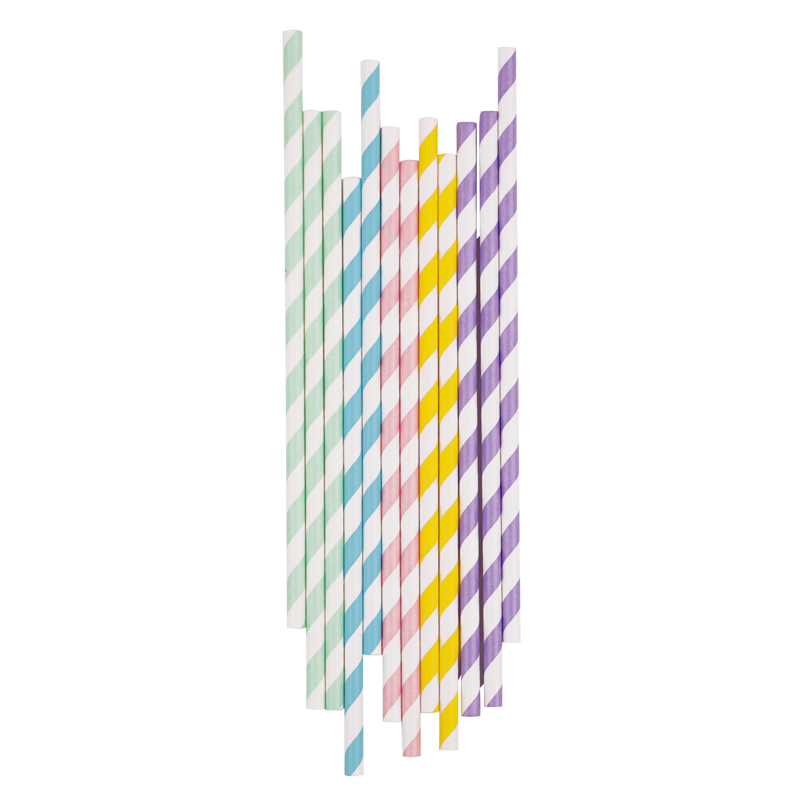 25 mixed pastel paper straws