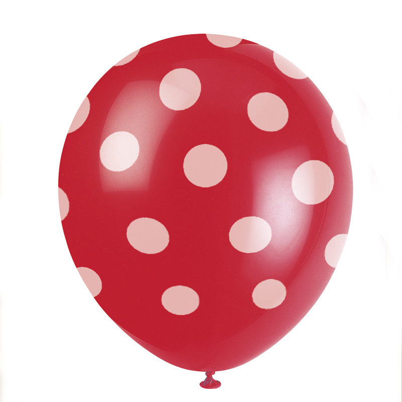 pack of 6 red spotty balloons