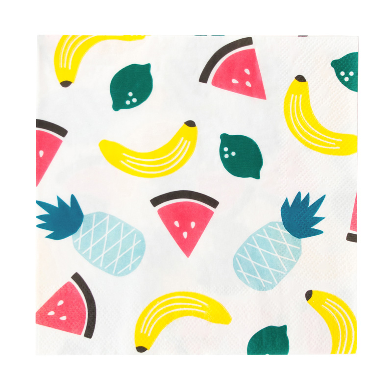 20 tropical fruit paper napkins