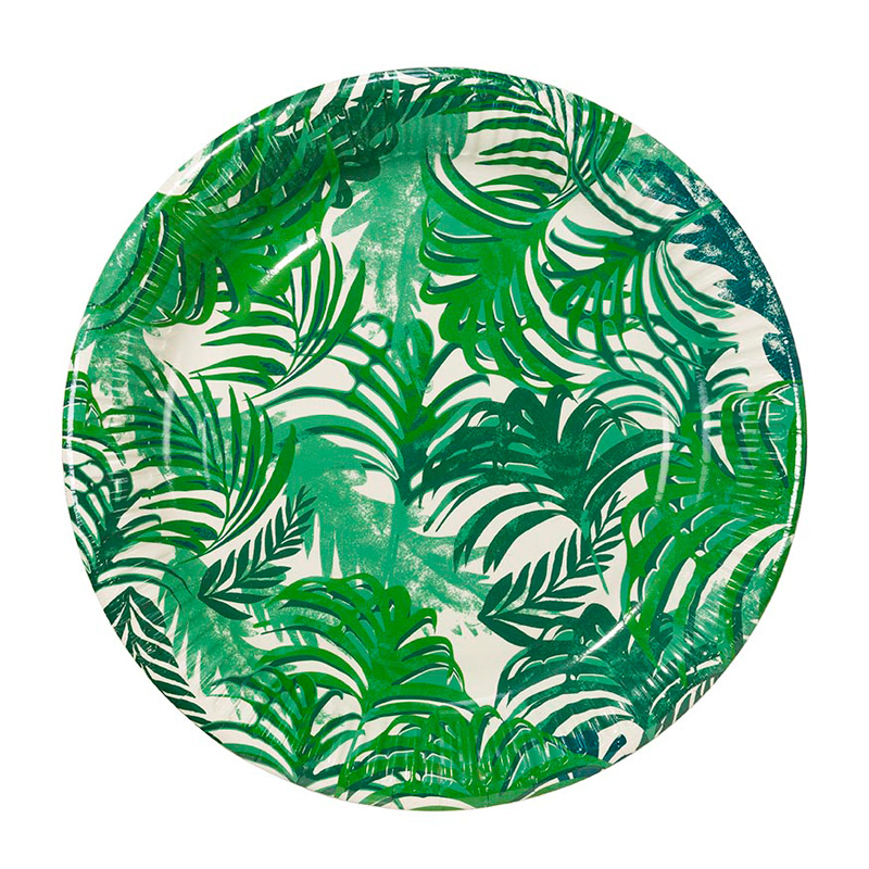 12 tropical leaf paper plates