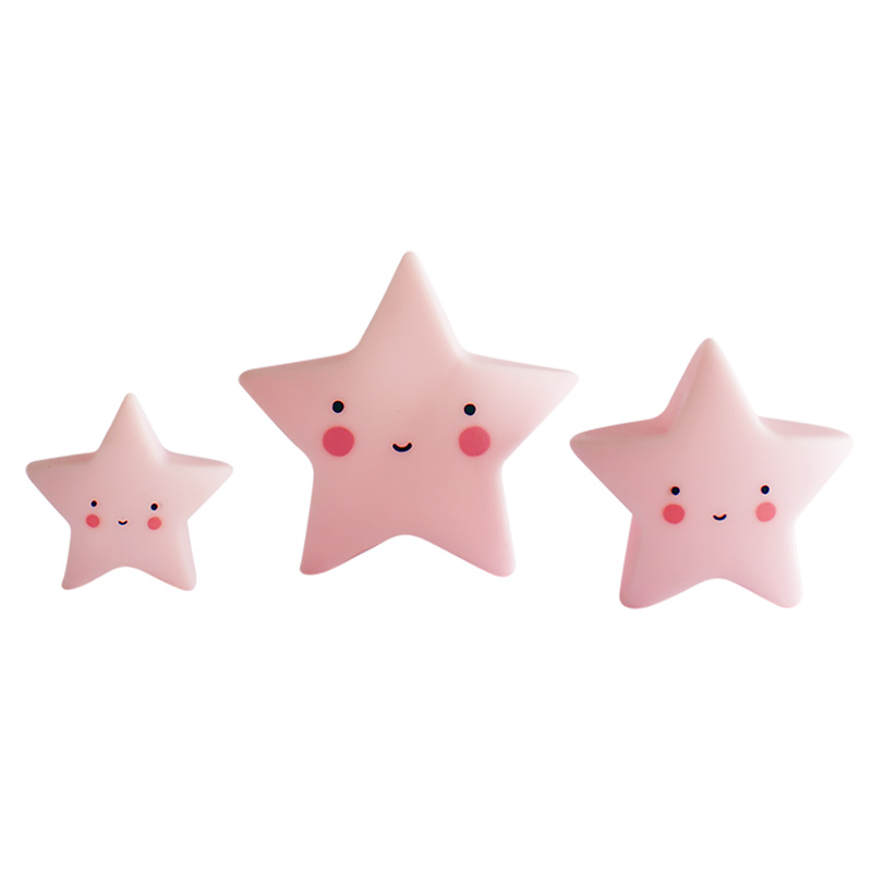 3 pink star toys