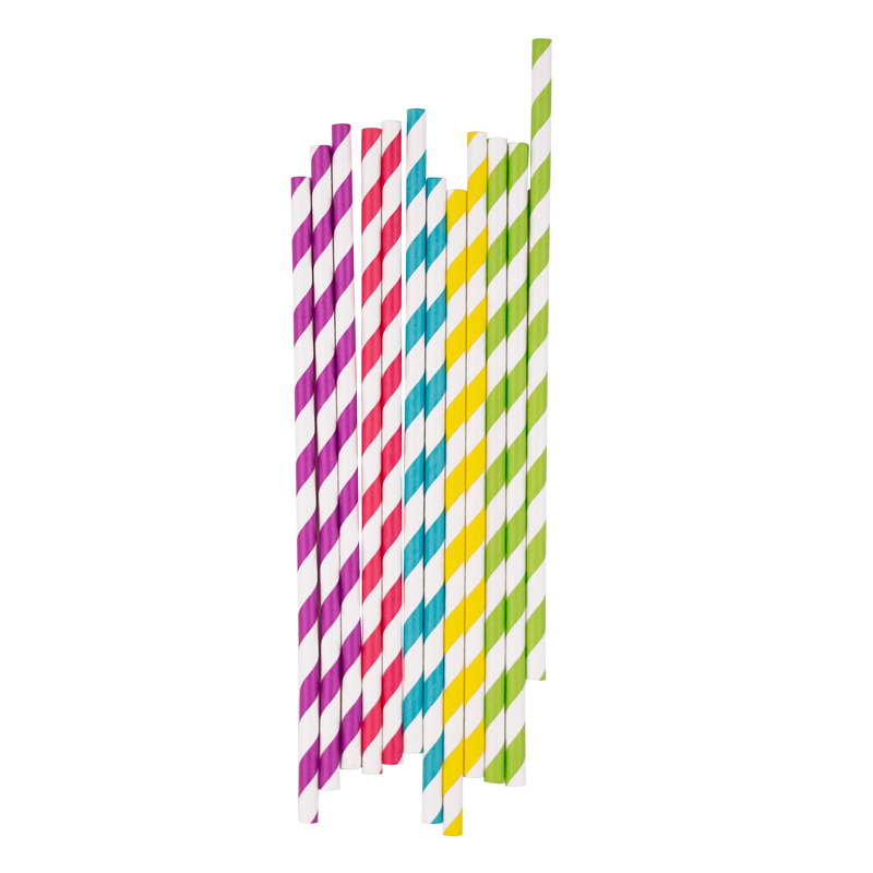 25 striped paper straws in various colours