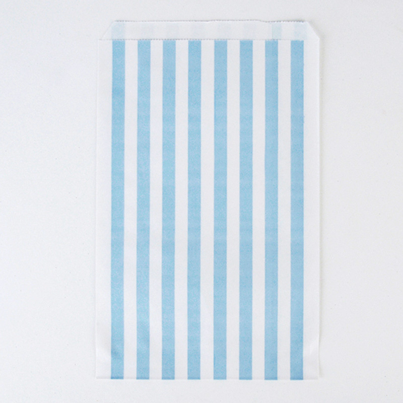 10 blue paper striped party bags