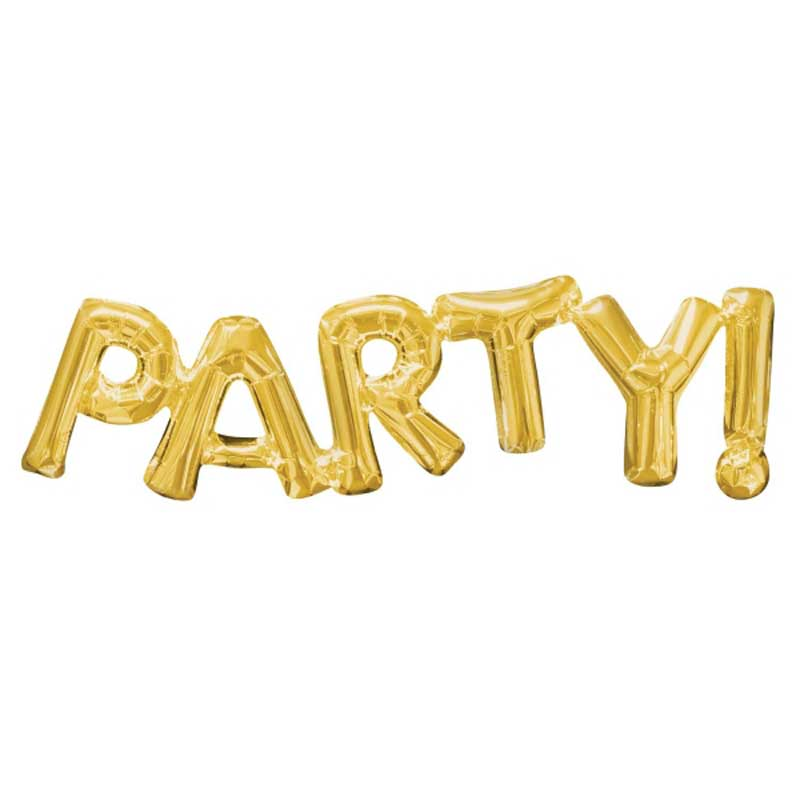 Party word gold foil balloons