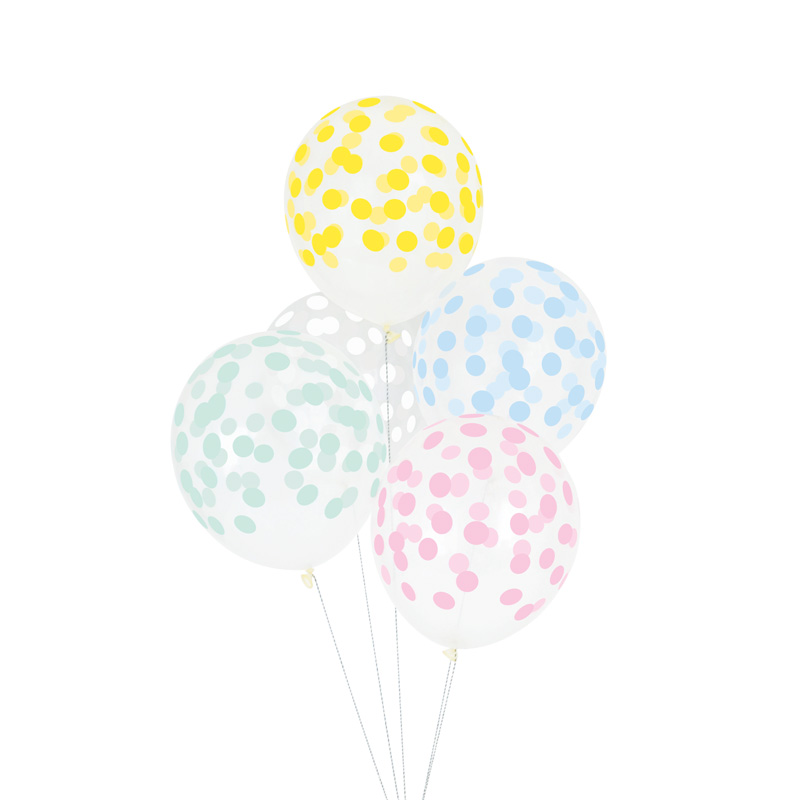 5 pastel printed confetti balloons
