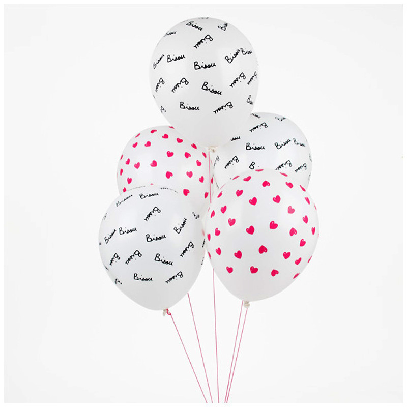 "5 printed heart & ""Bisou"" balloons"