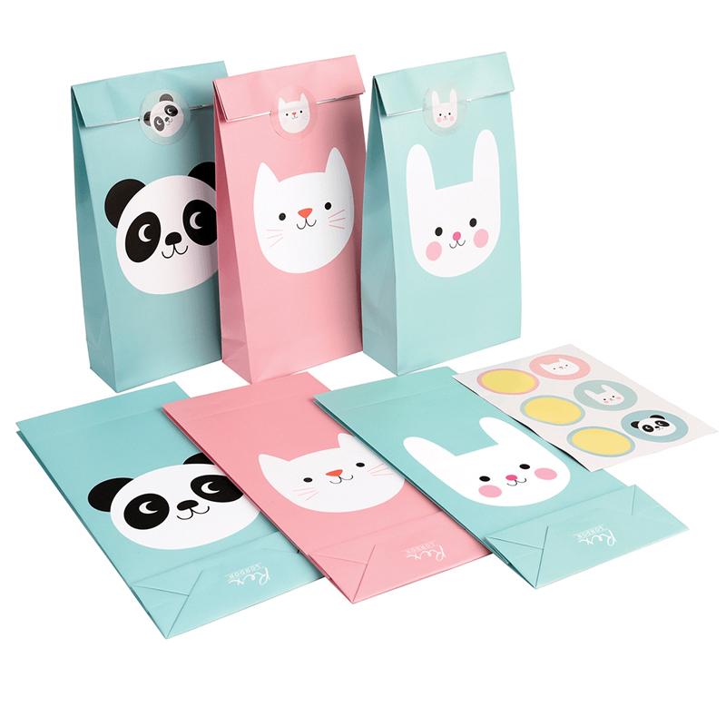 Set 6 Panda, Bunny And Cat Party Bags and stickers