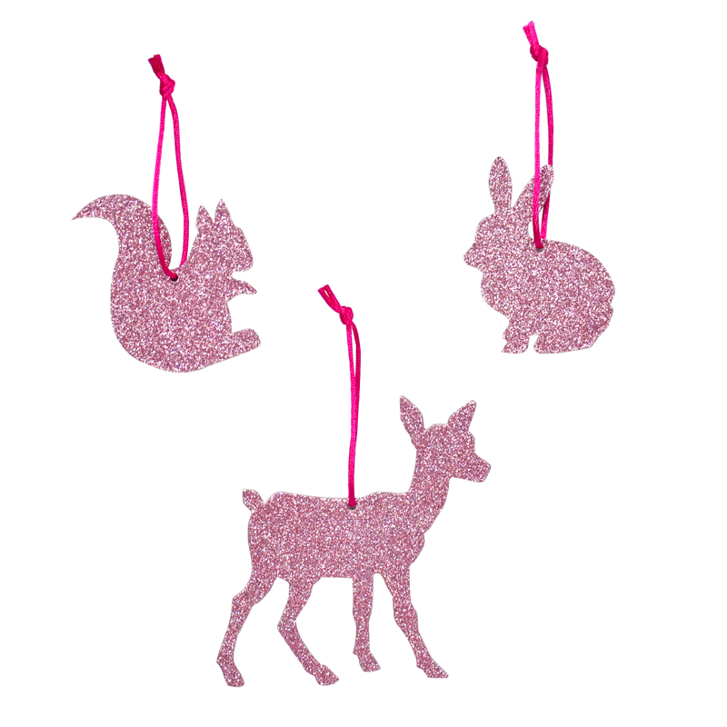 3 glitter animals with strings - Pink
