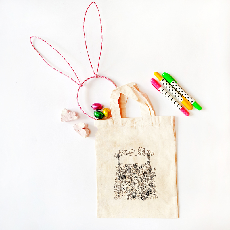 Colour-in Easter bag